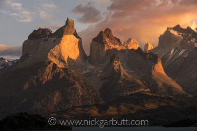 A stunning palette of colours materialises at sunrise over Torres del Paine
