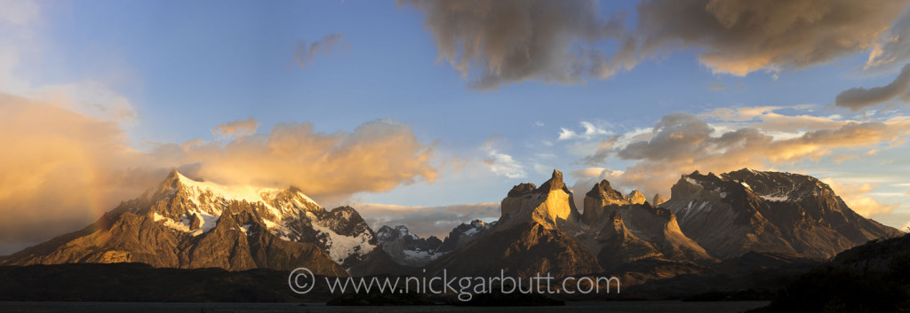 The Torres del Paine Massif just after sunrise