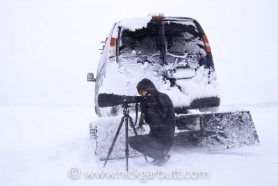 Gimmie Shelter:  Nick revelling a blizzard in Yellowstone  © Mark Danby